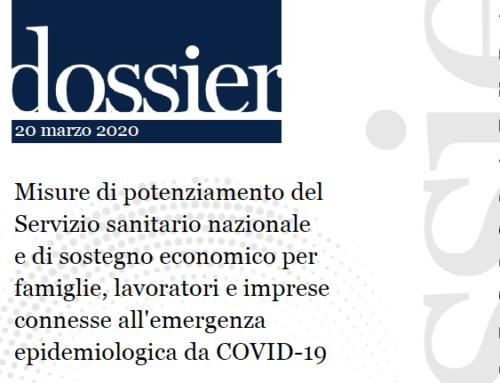 Anci mette a disposizione il Dossier del Senato sul DL Cura Italia e il Testo Unico Coordinato sul Covid19 della Protezione Civile