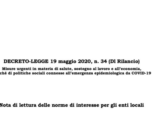 Nota di lettura ANCI-IFEL sulle principali norme di interesse per gli enti locali contenute nel Decreto Legge n. 34/2020 (c.d. Rilancio)